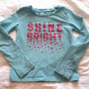 Shine Bright Size 6 Long-sleeve Tee starry graphic